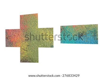 Arithmetic signs  made from powder of colored chalks isolated on white background, signs - +-