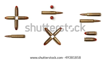 Arithmetic signs made of cartridges isolated