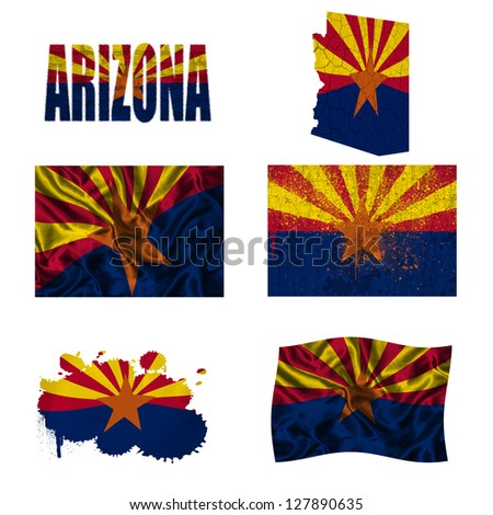 Arizona flag and map in different styles in different textures - stock photo