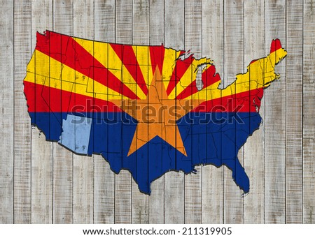 Arizona flag with America map and wood background - stock photo