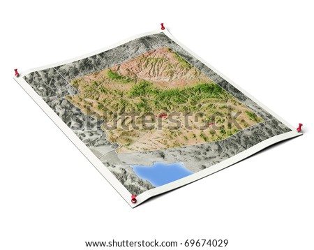 Arizona on unfolded map sheet with thumbtacks. Map colored according to vegetation, with borders and major urban areas. Includes clip path for the background.