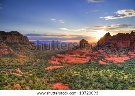 Arizona Red Rocks during sunset - stock photo