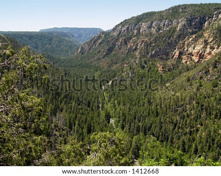 Arizona's Oak Creek Canyon from the Mogollon Rim - stock photo