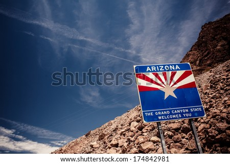 Arizona sign at Hoover Dam on the border with Nevada - stock photo