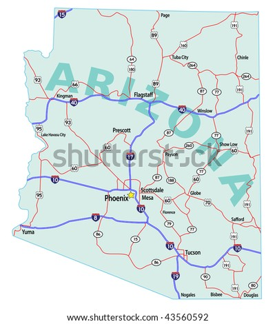 Arizona state road map with Interstates, U.S. Highways and state roads. Raster. Vector (EPS-8) version available in my portfolio. - stock photo