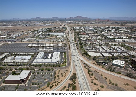 Arizona State Route 143, the Hohokam Expressway looking north - stock photo