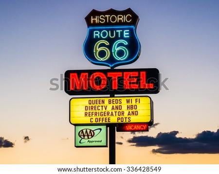ARIZONA, USA - SEPTEMBER 06: Motel sign in historic Route 66 on September 06, 2015 in Arizona, United States. Route 66 was established on November 11, 1926. - stock photo