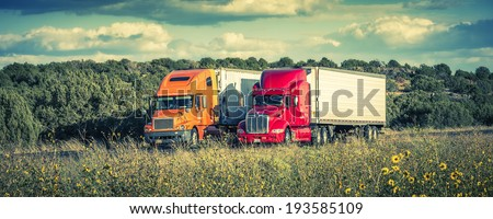 Arizona, USA. september 25, 2012.  semi-trucks on the road,  Special photographic processing. - stock photo