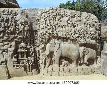 Arjuna's Penance, also known as the Descent of the Ganges. A giant bas-relief filled with detailed carvings, including a family of elephants and monkeys.