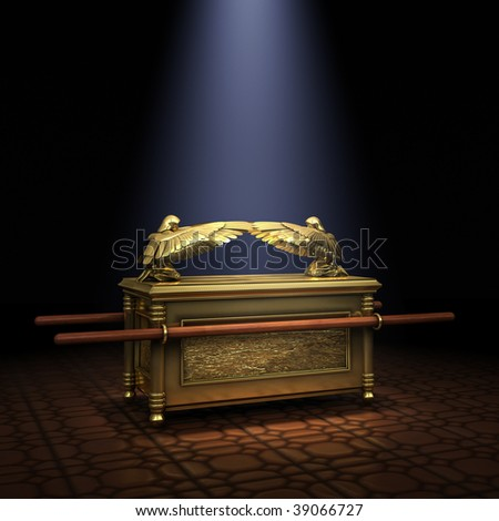 Ark of the Covenant inside the Holy of Holies illuminated with a shaft of light from above - stock photo