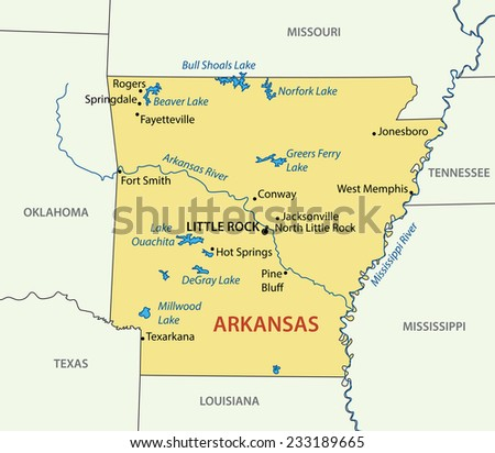 Arkansas - map - stock photo