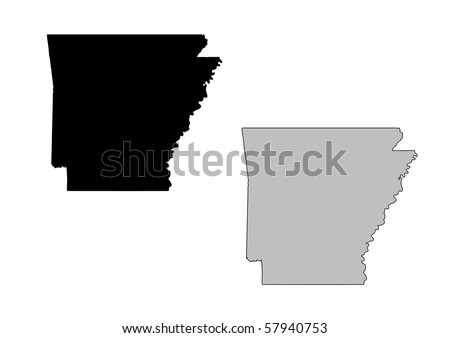 Arkansas map. Black and white. Mercator projection. - stock photo