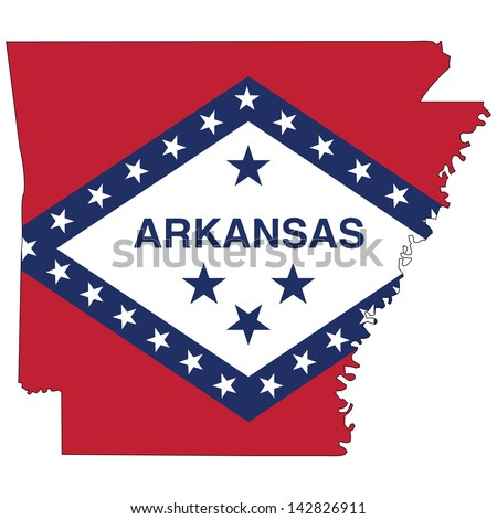 Arkansas map with the flag inside.