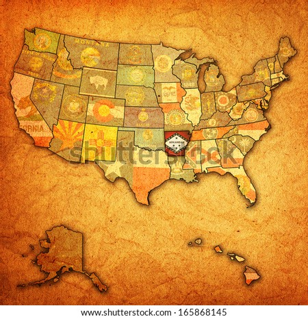 arkansas on old vintage map of usa with state borders - stock photo