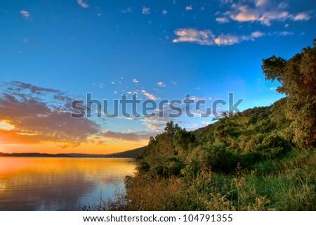 Arkansas River Sunrise High dynamic Range Shot - stock photo