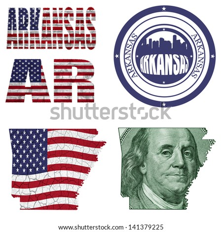 Arkansas state collage (map, stamp,word,abbreviation) in different styles in different textures - stock photo