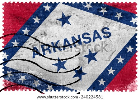 Arkansas State Flag - old postage stamp - stock photo