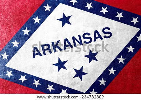 Arkansas State Flag painted on leather texture - stock photo