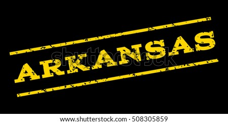 Arkansas watermark stamp. Text Tag between parallel lines with grunge design style. Rubber seal stamp with dirty texture. Glyph yellow color ink imprint on a blue background.