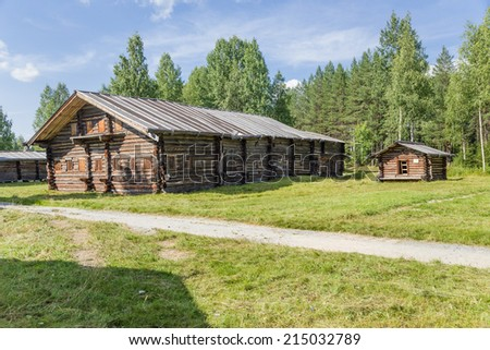 ARKHANGELSK, RUSSIA - AUG 1, 2013: Photo of the House-yard A. A. Kyrkalova end of the XIX century. Arkhangelsk State Museum of Wooden Architecture and Folk Art Mallye Korely