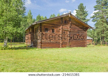 ARKHANGELSK, RUSSIA - AUG 1, 2013: Photo of the house-yard of A. Turobov, 20-ies of the XIX century. Arkhangelsk State Museum of Wooden Architecture and Folk Art Mallye Korely