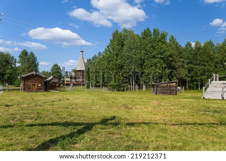 ARKHANGELSK, RUSSIA - AUG 1, 2013: Photo of the rural landscape of the XIX century. Arkhangelsk State Museum of Wooden Architecture  Mallye Korely