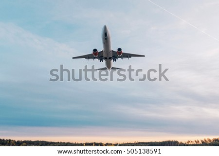 ARLANDA, SWEDEN - SEPT 6, 2016: Passenger aircraft flying over at Arlanda Airport (ARN)