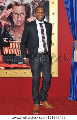 """Arlen Escarpeta at the world premiere of """"The Incredible Burt Wonderstone"""" at the Chinese Theatre, Hollywood. March 11, 2013  Los Angeles, CA Picture: Paul Smith - stock photo"""