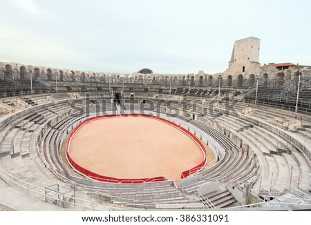 Arles amphitheater (Arena), unesco world heritage in Provence, France - stock photo