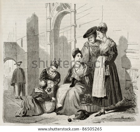 Arles women in traditional costumes, old illustration. Created by Montigneul, published on Magasin Pittoresque, Paris, 1843 - stock photo
