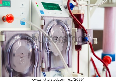 arlificial kidney (dialysis) device with rotating pumps. closeup view.