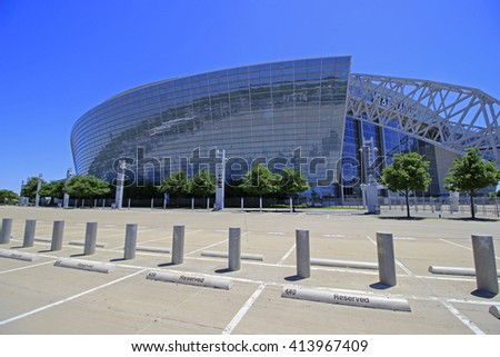 ARLINGTON - APRIL 25, 2016: The AT&T Stadium  in Arlington, Texas is home of the NFL Dallas Cowboys since 2009. Also used by college football teams and others for sporting and non-sporting events. - stock photo