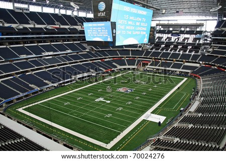 ARLINGTON - JAN 26: A view of Cowboys Stadium in Arlington, Texas from a luxury suite. Preparations underway for Super Bowl XLV. Taken January 26, 2011 in Arlington, TX. - stock photo