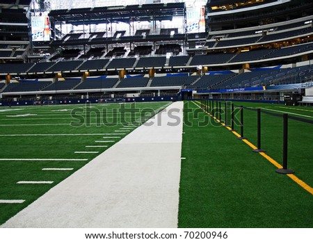 ARLINGTON - JAN 26: A view of the side line in Cowboys Stadium in Arlington, Texas sight of Packers Steelers Super Bowl XLV. Taken January 26, 2011 in Arlington, TX. - stock photo