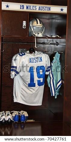 ARLINGTON - JUNE 16: Miles Austin's locker in the Dallas Cowboys locker room in Cowboys Stadium  Arlington, Texas. Taken June 16, 2010 in Arlington, TX. - stock photo