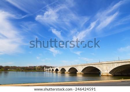 Arlington Memorial Bridge across Potomac River connects Washington DC and Virginia. Early morning near the bridge in spring. - stock photo