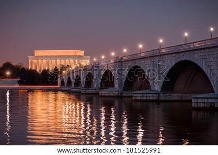 Arlington Memorial Bridge and Lincoln Memorial at sunset. Washington DC, December 2013. - stock photo