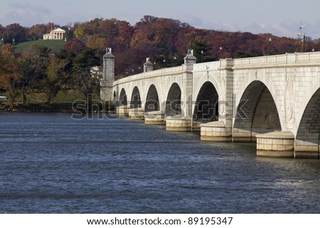 Arlington Memorial Bridge in Washington DC USA - stock photo