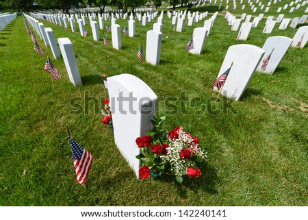 Arlington National Cemetery during Memorial day - Washington DC United States  - stock photo
