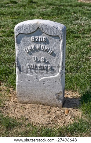 Arlington National Cemetery gravestone for unknown soldier from the American Civil War - stock photo