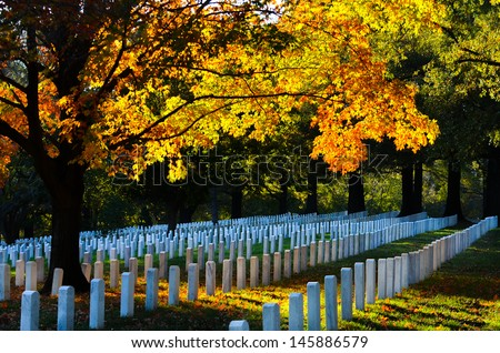 Arlington National Cemetery in Autumn - stock photo