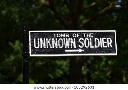 Arlington National Cemetery in Washington DC - Sign to Tomb of the Unknown Soldier - stock photo