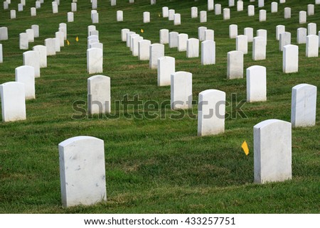 Arlington National Cemetery tombs, shallow depth of field. - stock photo
