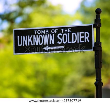 Arlington National Cemetery Unknown soldier sign Virginia VA near Washington DC USA - stock photo