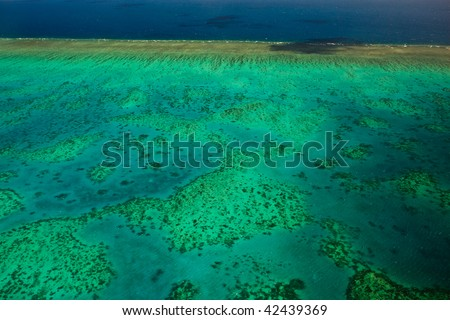 Arlington Reef Aerial View Great Barrier Reef - stock photo
