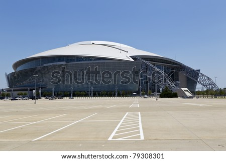ARLINGTON, TEXAS - JUNE 13: Dallas Cowboy Field, home of the NFL Cowboys, on June 13, 2011 in Arlington, Texas. This state of the art facility opened in 2009, replacing Texas Stadium. - stock photo