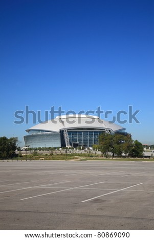 ARLINGTON, TEXAS - SEPTEMBER 28: Dallas Cowboy Field, home of the NFL Cowboys, on September 28, 2010 in Arlington, Texas. It was constructed at a cost of $1.3 billion and seats 80,000 football fans. - stock photo