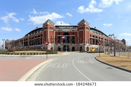 ARLINGTON, TX - MARCH 14: Globe Life Park in Arlington in Arlington, Texas on March 14, 2014. Formerly known as Rangers Ballpark in Arlington, the ballpark is home to The Texas Rangers baseball team. - stock photo
