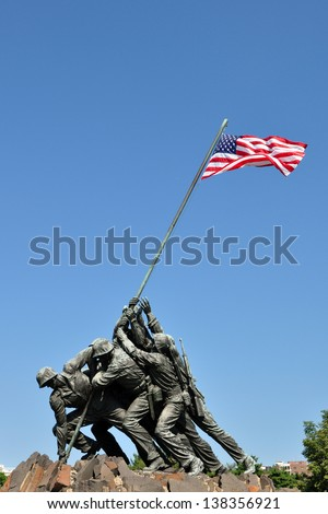 ARLINGTON, VA, USA - JUNE 23, 2012: Marine Corps War Memorial is dedicated to all personnel of the Marine Corps who have been martyred since 1775. - stock photo