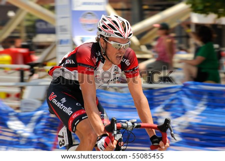 ARLINGTON, VIRGINIA - JUNE 12: A cyclist competes in the U.S. Air Force Cycling Classic on June 12, 2010 in Arlington, Virginia